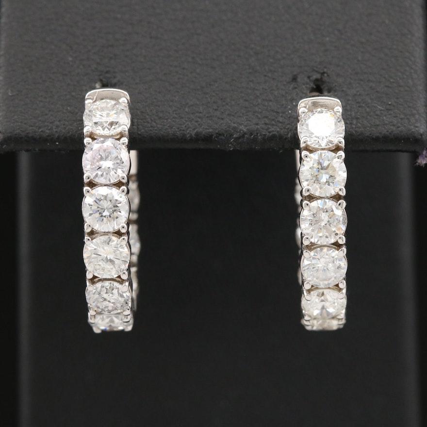 14K 4.14 CTW Diamond Inside Out Hoop Earrings