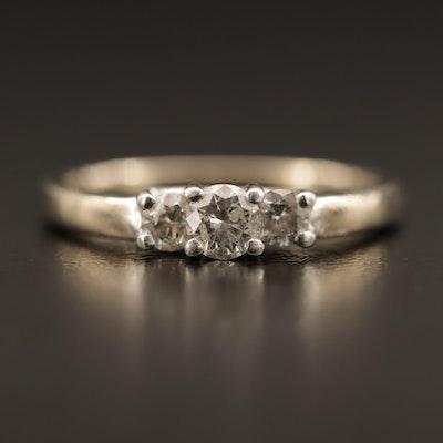 Vintage 14K Diamond Three Stone Ring with Platinum Settings