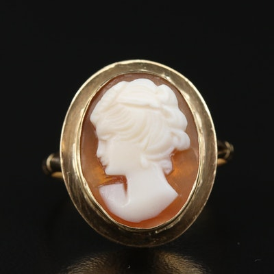 Victorian 18K Shell Cameo Ring