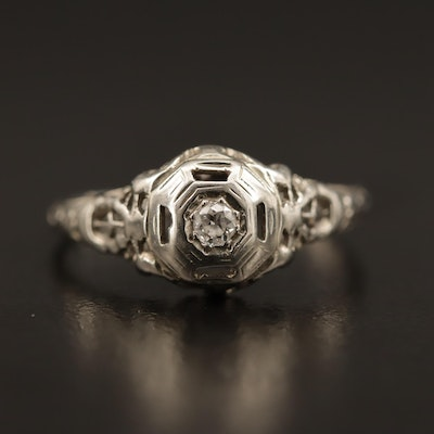 Edwardian 18K Openwork Diamond Ring