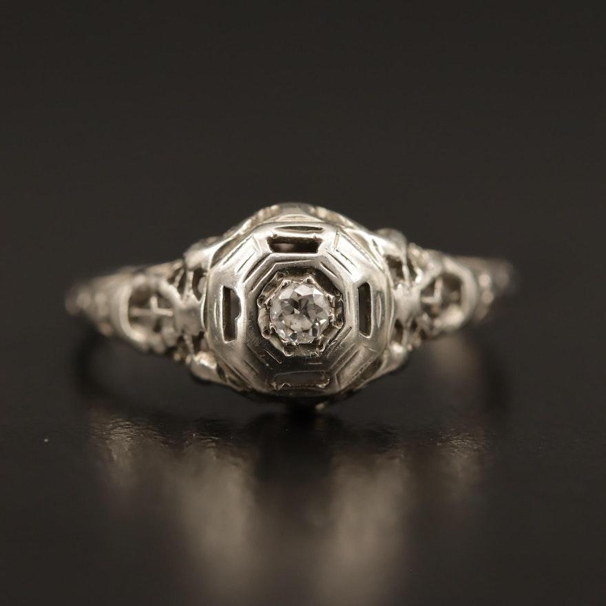 Edwardian 18K Openwork Diamond Ring