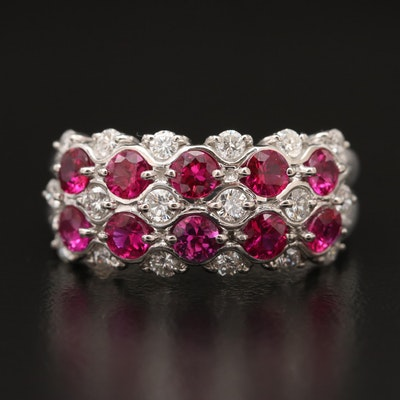Platinum Ruby and Diamond Tapered Ring