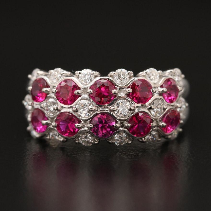 Platinum Ruby and Diamond Tapered Ring