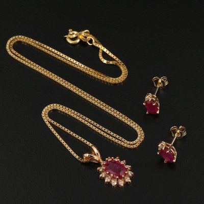 14K Ruby and Diamond Necklace and Earrings