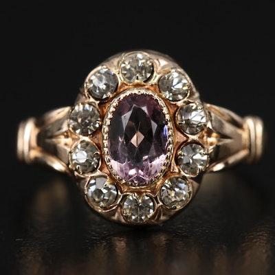 Antique 10K Purple Glass and Rhinestone Ring
