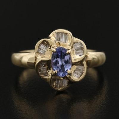 14K Tanzanite and Diamond Flower Ring