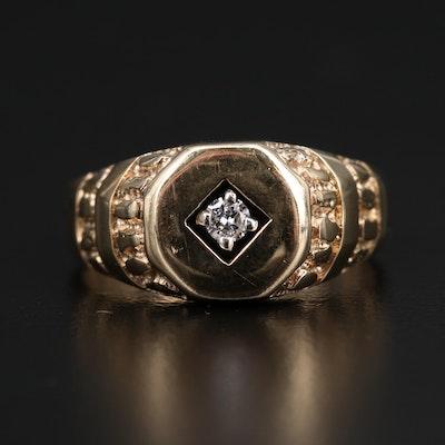 10K Diamond Nugget Motif Ring