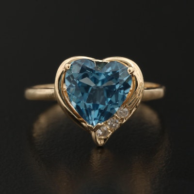 14K Topaz and Diamond Heart Ring