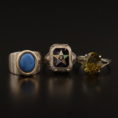 Sterling Silver Ring Selection Featuring Lapis Lazuli Ring and Masonic Ring