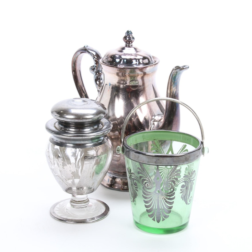 Rosenthal Porcelain Coffee Pot and Other Silver Overlay Table Accessories