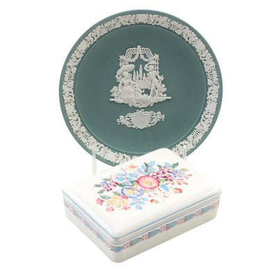 Wedwood Jasperware Valentines Day Plate and Bone China Trinket Box