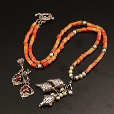 Sterling Silver Coral and Pearl Koi Fish Pendant Necklace and Marcasite Earrings