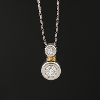 Platinum Diamond Pendant with 14K Accent on 14K Box Chain Necklace