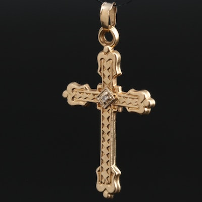 14K Diamond Cross Pendant