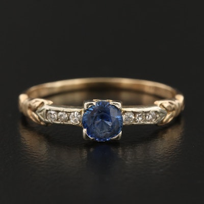Vintage 14K Sapphire and Diamond Ring