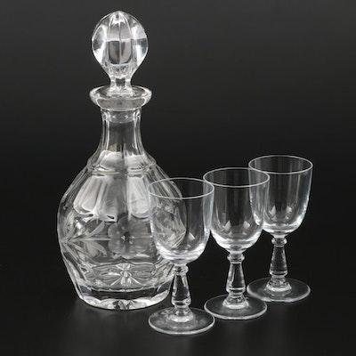 "Gorham ""Spring Meadows"" Decanter with Cristal de Sevres ""Arroux"" Water Goblets"