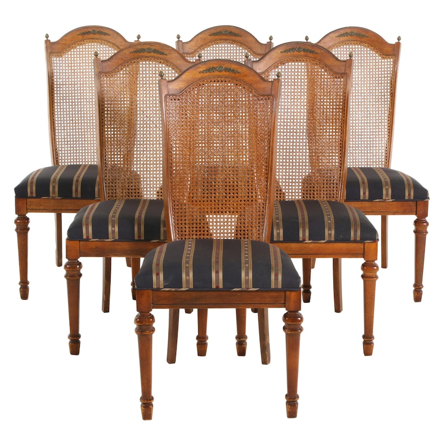 Six Cane Back Dining Chairs, Late 20th Century