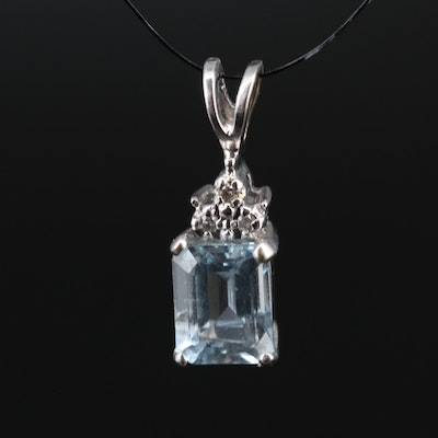 10K Aquamarine and Diamond Pendant