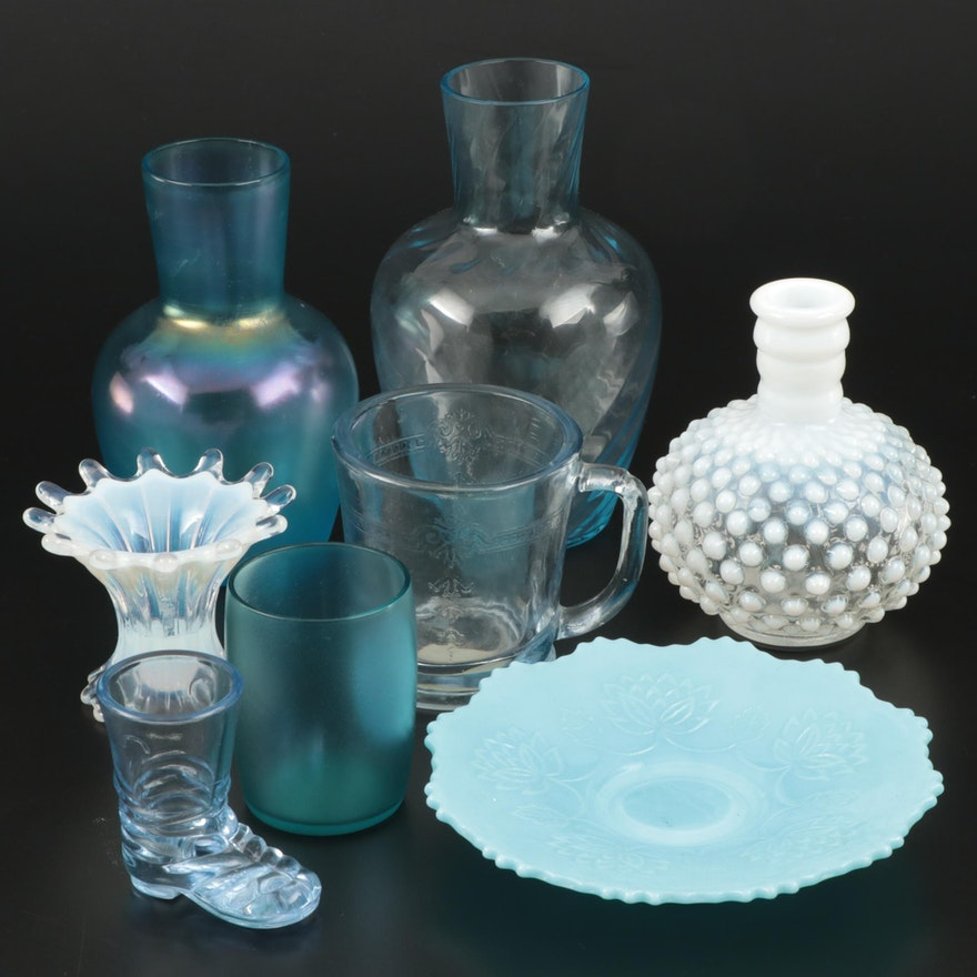 """Opalescent White """"Hobnail"""" Vase with Other Pressed and Milk Glass"""