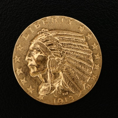 1913 Indian Head $5 Gold Half Eagle Coin