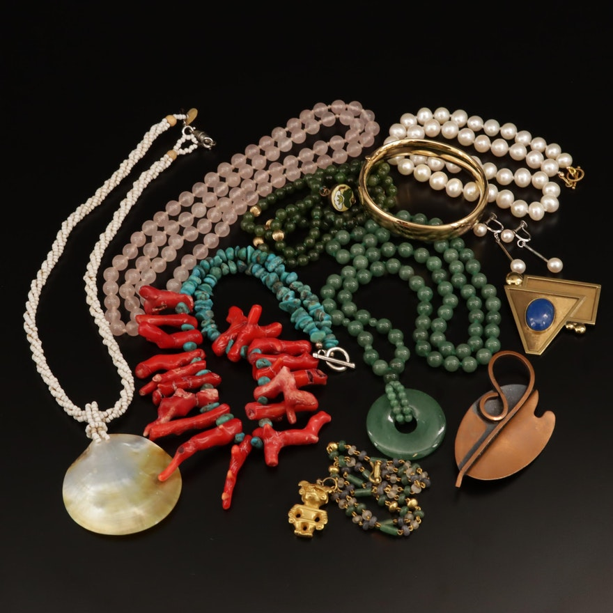 Assorted Jewelry Including Coral, Rose Quartz and Aventurine Quartz