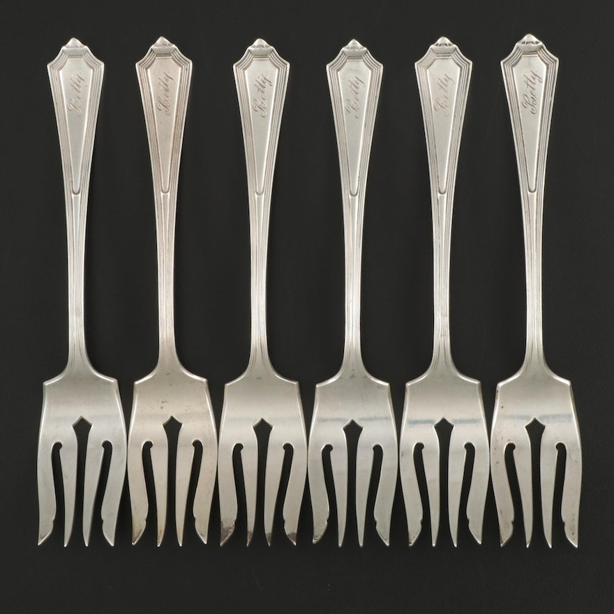 "Gorham ""Plymouth"" Sterling Silver Salad Forks, 1921"