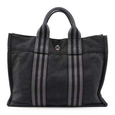 Hermès Fourre Tout Black and Gray Cotton Canvas PM Mini Tote