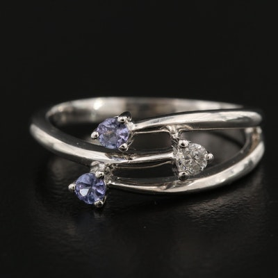 10K Diamond and Tanzanite Bypass Ring