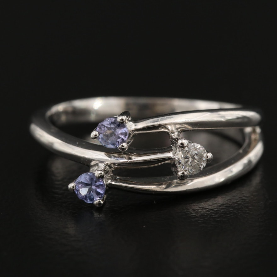10K Diamond and Tanzanite Bypass Ring