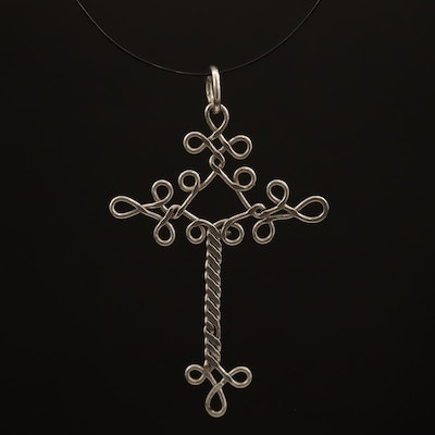 Twisted Wire Cross Pendant