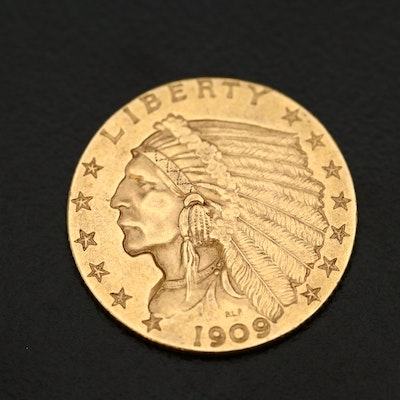 1909 Indian Head $2.50 Gold Quarter Eagle Coin