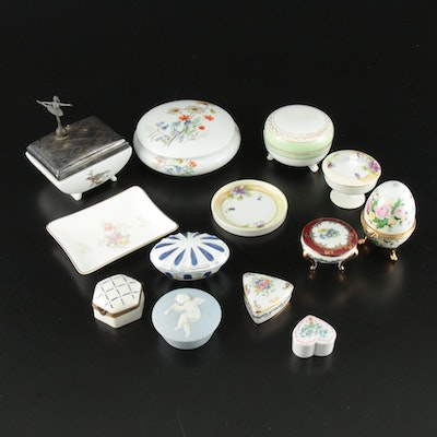 French, Japanese, and English Porcelain Vanity Boxes, Jars, and Dishes, 20th C.