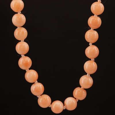 Single Strand Beaded Coral Necklace