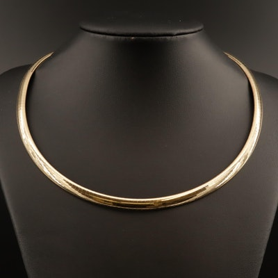14K Omega Chain Choker Necklace