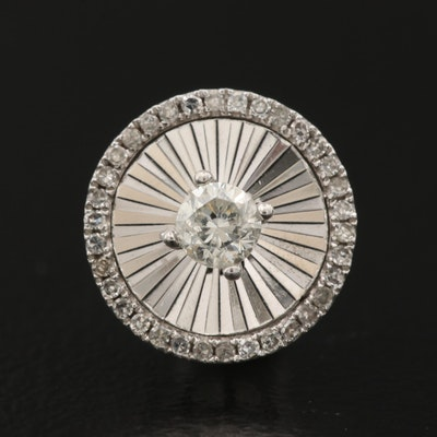 14K Diamond Circle Pendant with Fluted Design