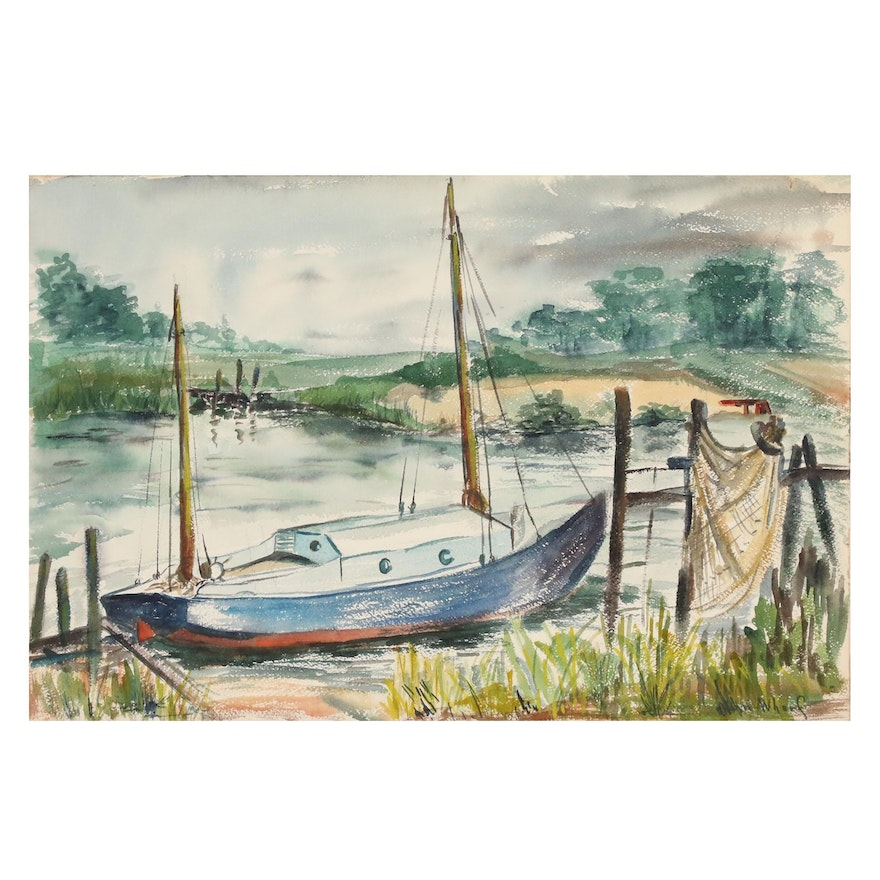 Watercolor Painting of a Sailboat Attributed to John Whorf, Mid-20th Century