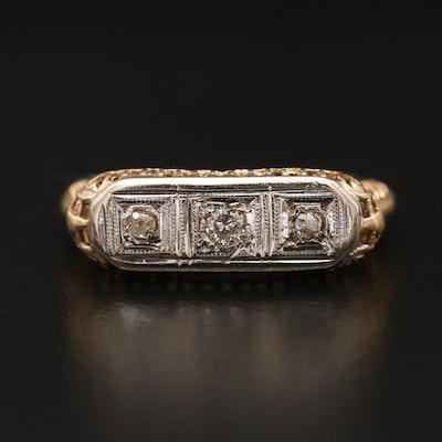 Antique 14K Diamond Openwork Ring