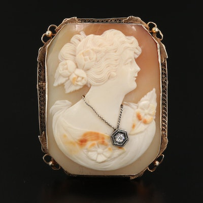 1930s 14K Shell and Diamond Habillé Cameo Converter Brooch