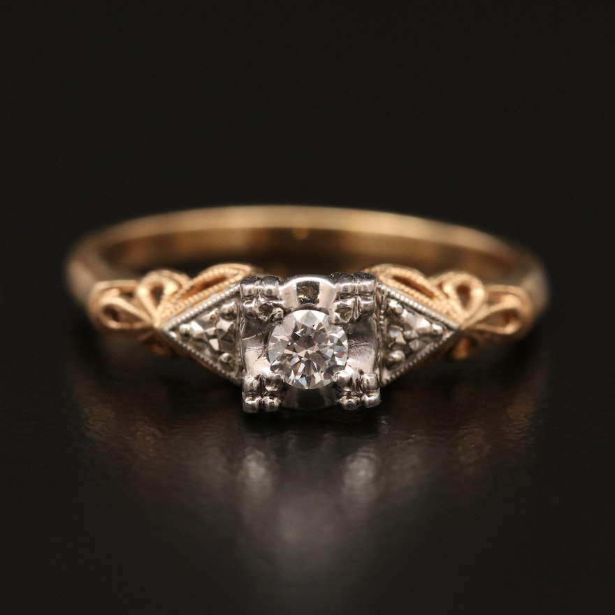 14K Diamond Ring with Filigree Detailing and Platinum Accents