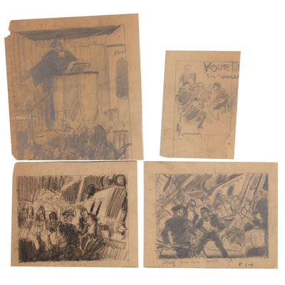 Graphite Drawing Thumbnail Design Sketches Attributed to Edmund F. Ward