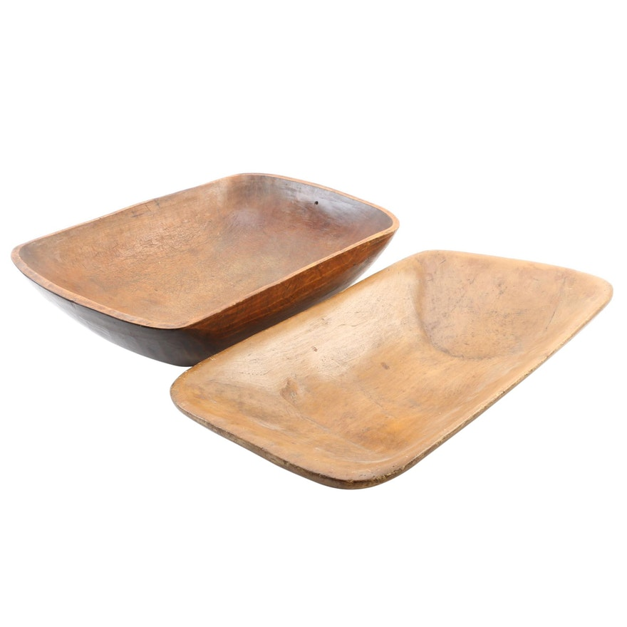 Hewn-Carved Wooden Dough Bowls