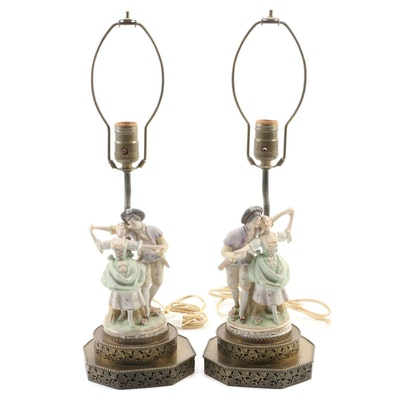 Pair of Baroque Style Bisque Porcelain Courting Scene Table Lamps, Mid-20th C.