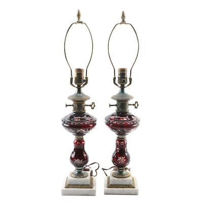 Pair of Ruby Cut to Clear Glass Table Lamps