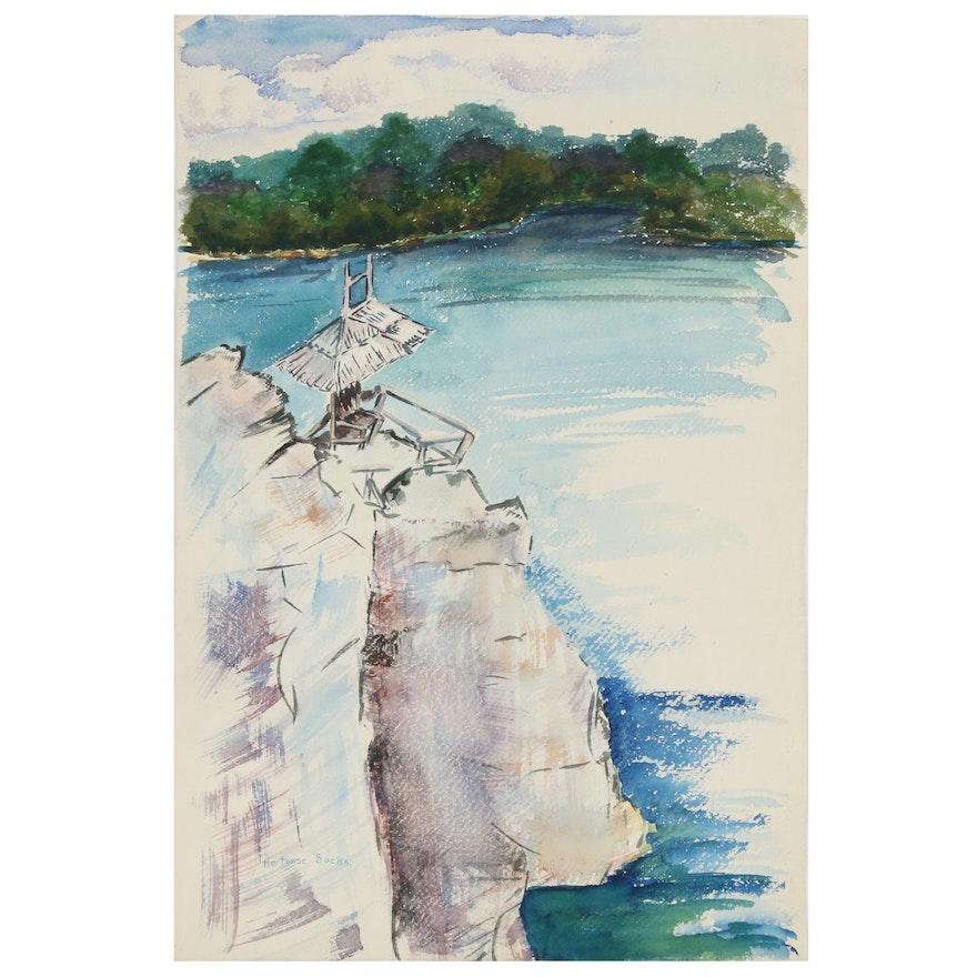 Shoreline Landscape Watercolor Painting, Late 20th Century