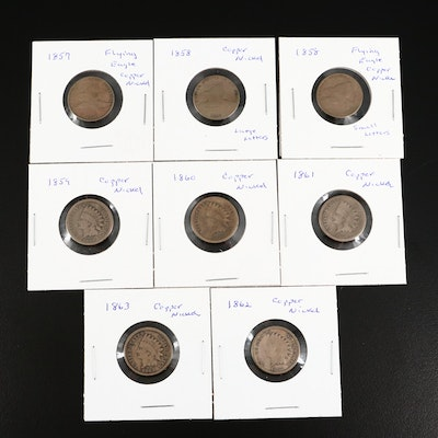 Three Flying Eagle and Five Indian Head Cents
