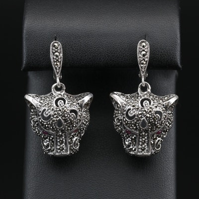 Sterling Silver Ruby and Marcasite Feline Earrings