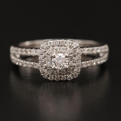 14K Diamond Split Shank Ring