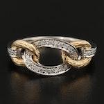 14K Diamond Link Motif Ring