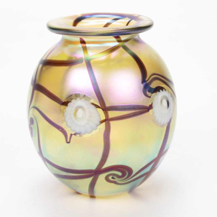 Robert Eickholt Handblown Iridescent Art Glass Vase, 2014