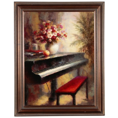 Oil Painting of Piano with Floral Arrangement, 21st Century